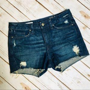 GAP Slim Dark Wash Distressed Cut-Off Shorts